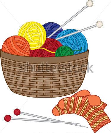 Clip Art Basket Of Yarn Clipart.