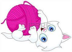 Risultati immagini per disegni di gatti con gomitoli di lana.