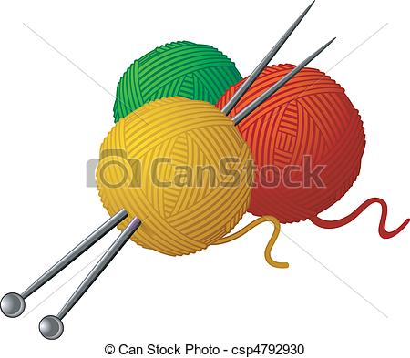 Vector Clipart of Skeins of wool and knitting needles isolated.