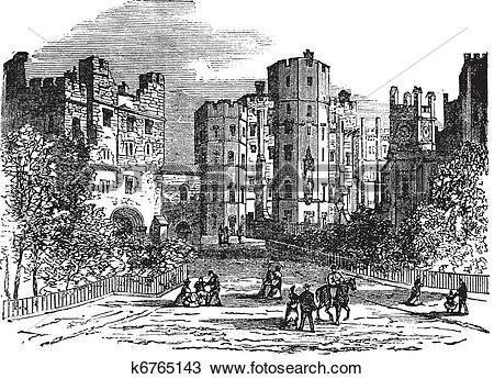 Clipart of Lancaster castle, Lancashire vintage engraving k6765143.