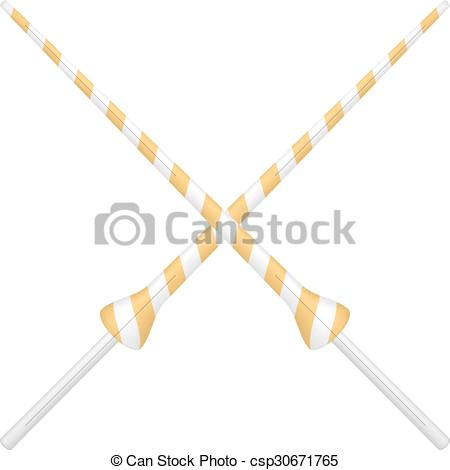 Clip Art Vector of Two crossed lances in orange and white design.