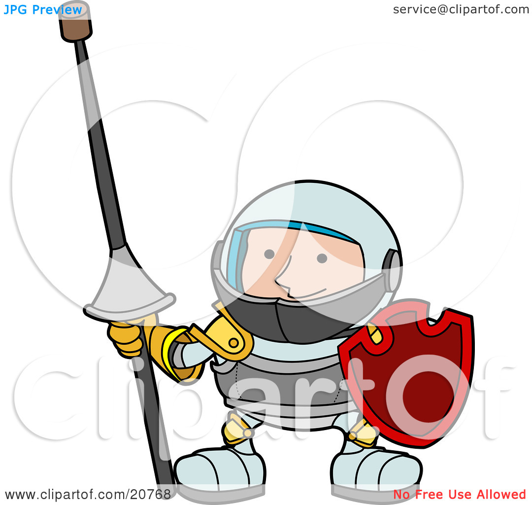 Clipart Illustration of a Male Knight In Armour, Holding A Lance.