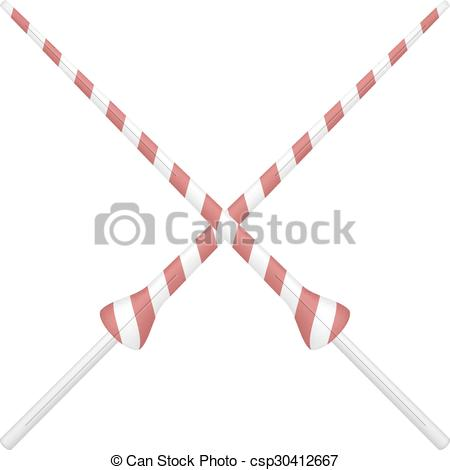 Clip Art Vector of Two crossed lances in red and white design on.