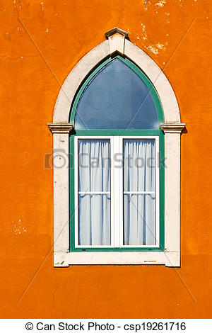 Stock Photography of Lancet Window of the Old Portugal House.