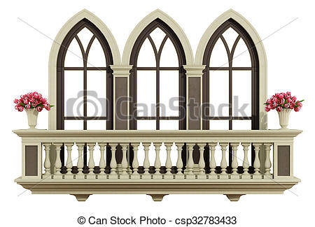 Drawings of Classic balcony with triple lancet window.