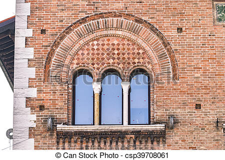 Stock Image of Triple lancet window of medieval palace..