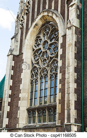 Stock Photography of lancet window of the cathedral with a flower.