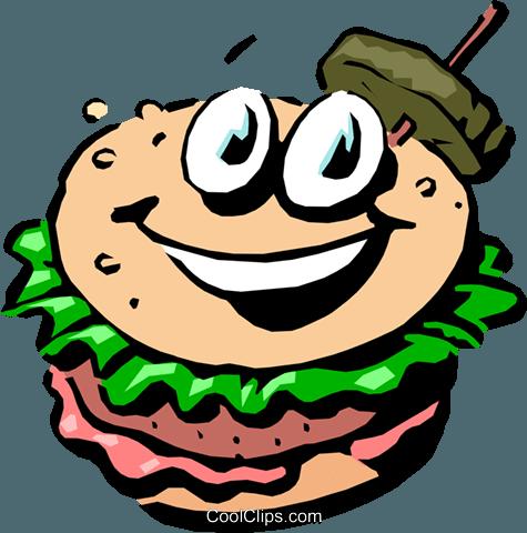 Cartoon hamburger Royalty Free Vector Clip Art illustration.