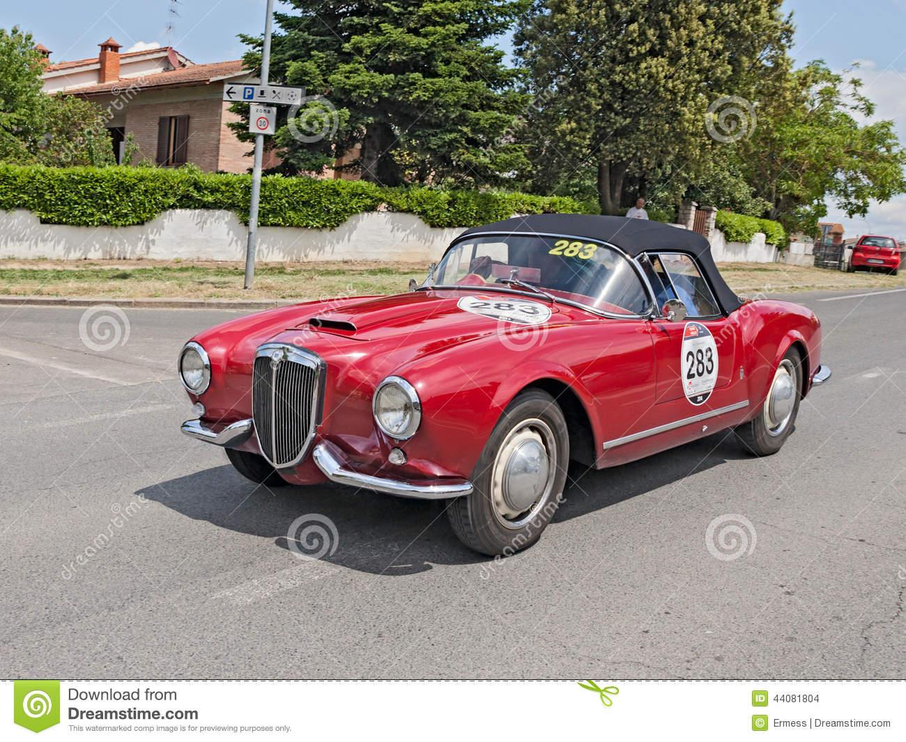 LANCIA Aurelia B24 Spider In Mille Miglia 2014 Editorial Stock.