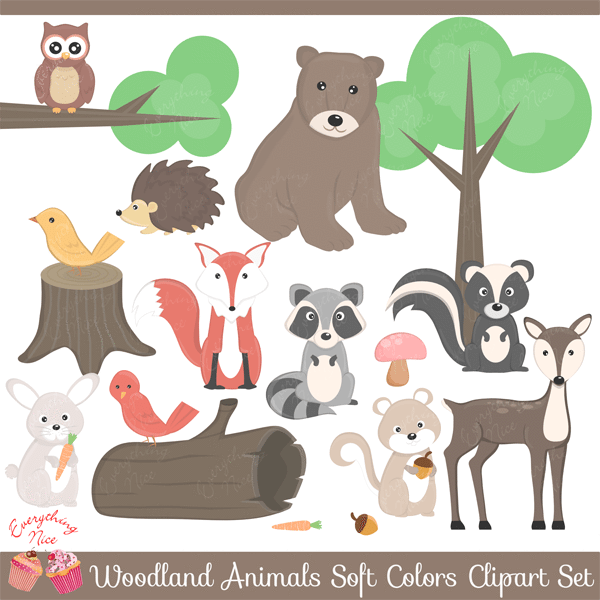 Wood land Animals in Soft Colors Clipart Set.