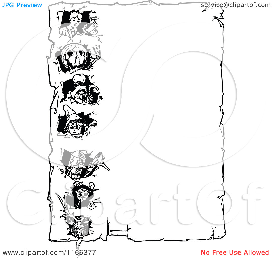 Clipart of a Retro Vintage Black and White Land of Oz Border.
