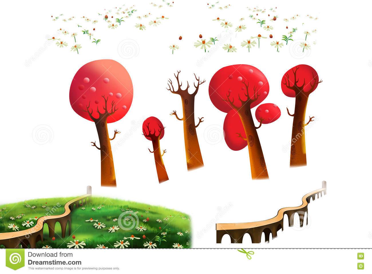 Clip Art Set: Red Trees, Grass Land, Bridge Isolated On White.