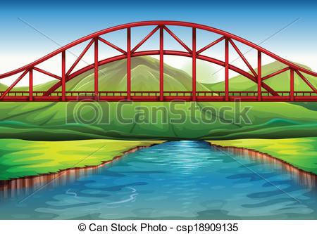 Vectors of A bridge above the river.