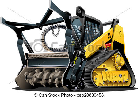 Clipart Vector of Vector Cartoon Land Clearing Mulcher.