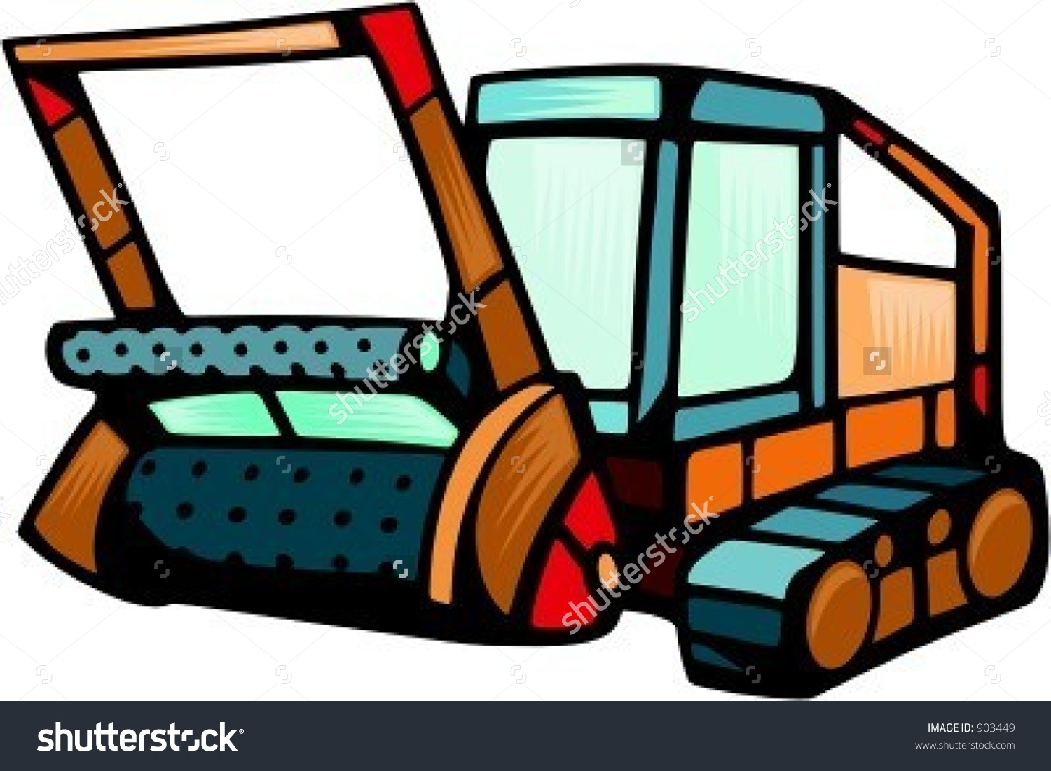 Land Clearing Equipment.Vector Illustration.