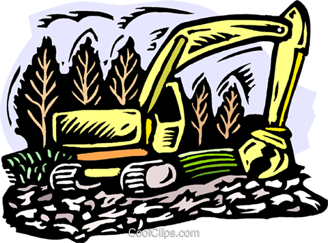 Clearing land Royalty Free Vector Clip Art illustration.