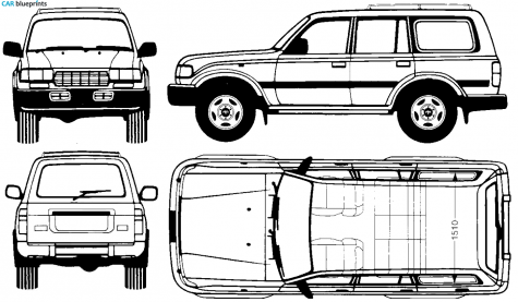 1995 Toyota Land Cruiser FJ80 SUV blueprint.