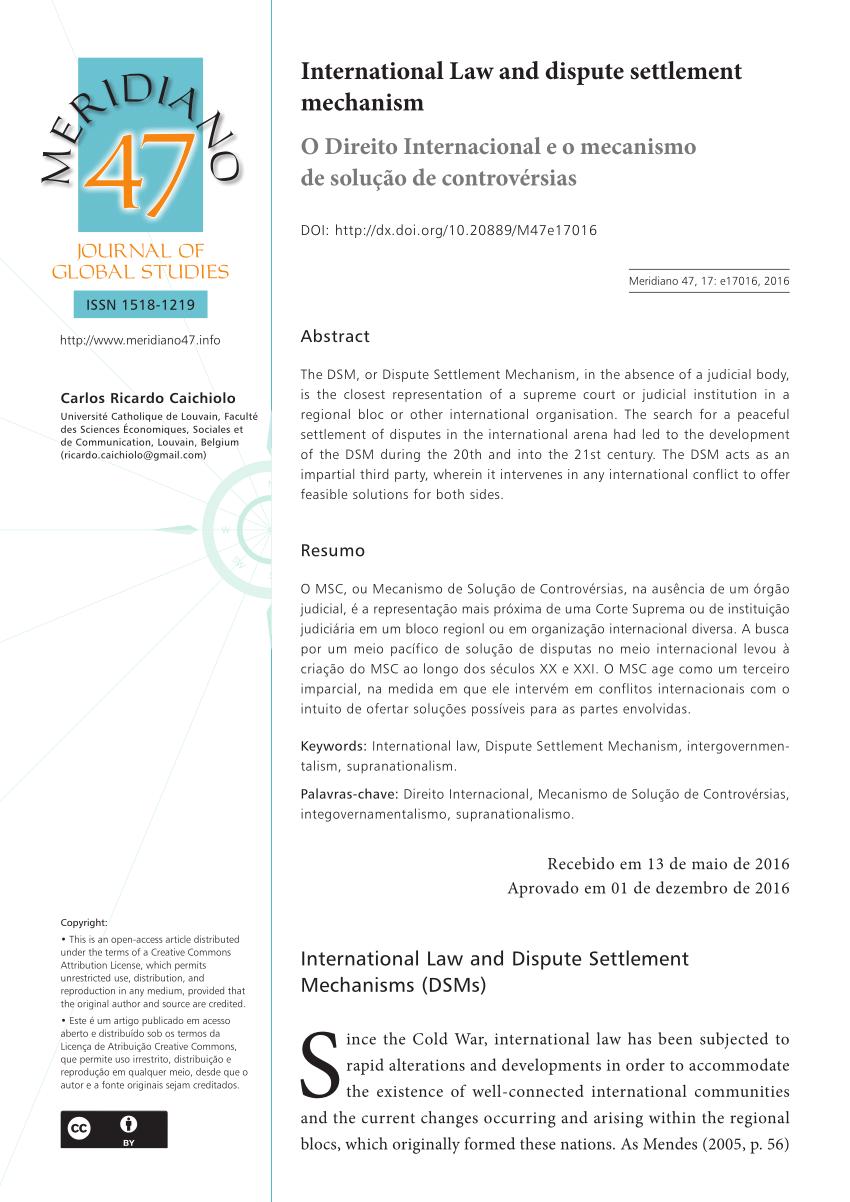 PDF) International Law and dispute settlement mechanism.