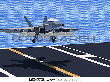 Clip Art of The fighter comes in to land k5342738.