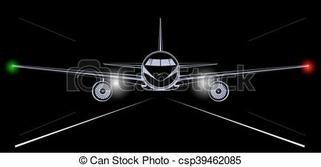 Vector of Bright silhouette of a jet airliner coming in to land in.