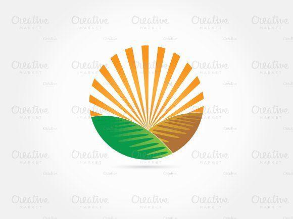 Sun farm logo green land by afahmy on @creativemarket.