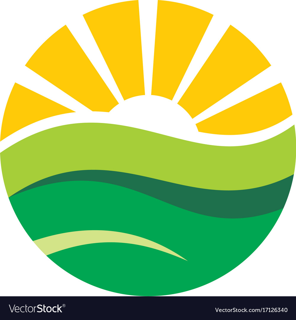 Nature round earth land and sun logo.