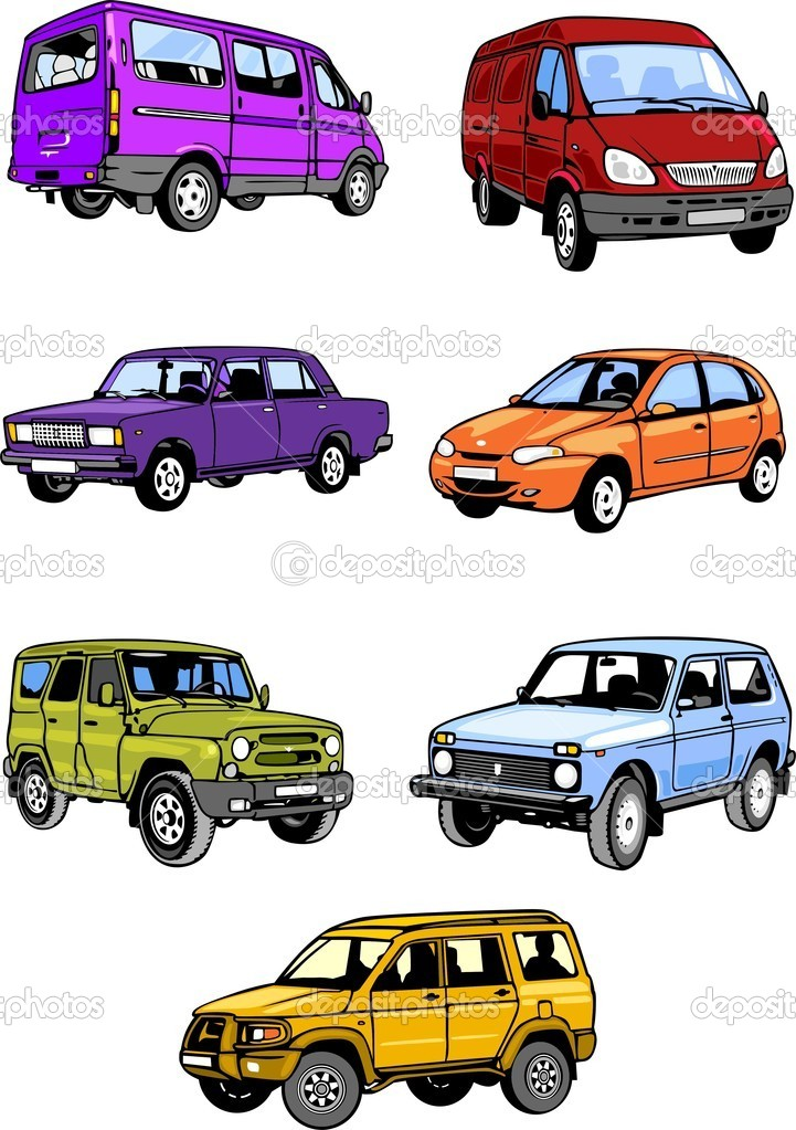 Seven passenger cars. Cars. — Stock Vector © Digital.