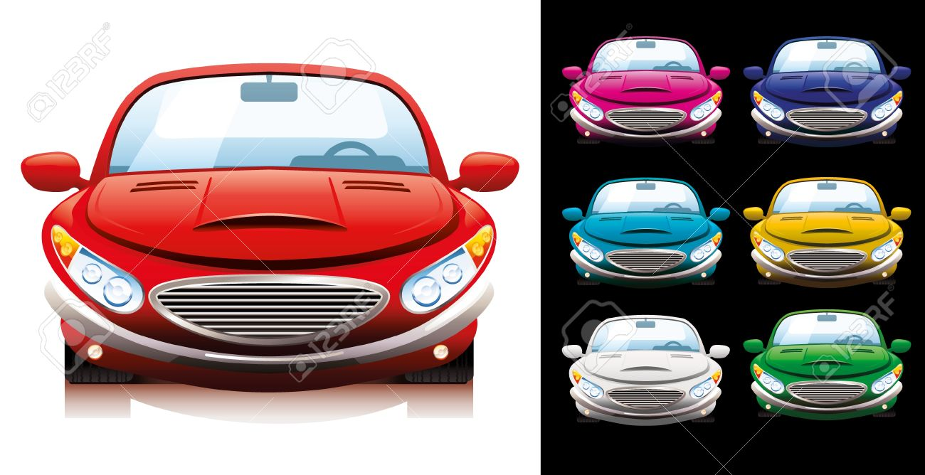 A Set Of Seven Sport Cars Of Different Colors. Royalty Free.