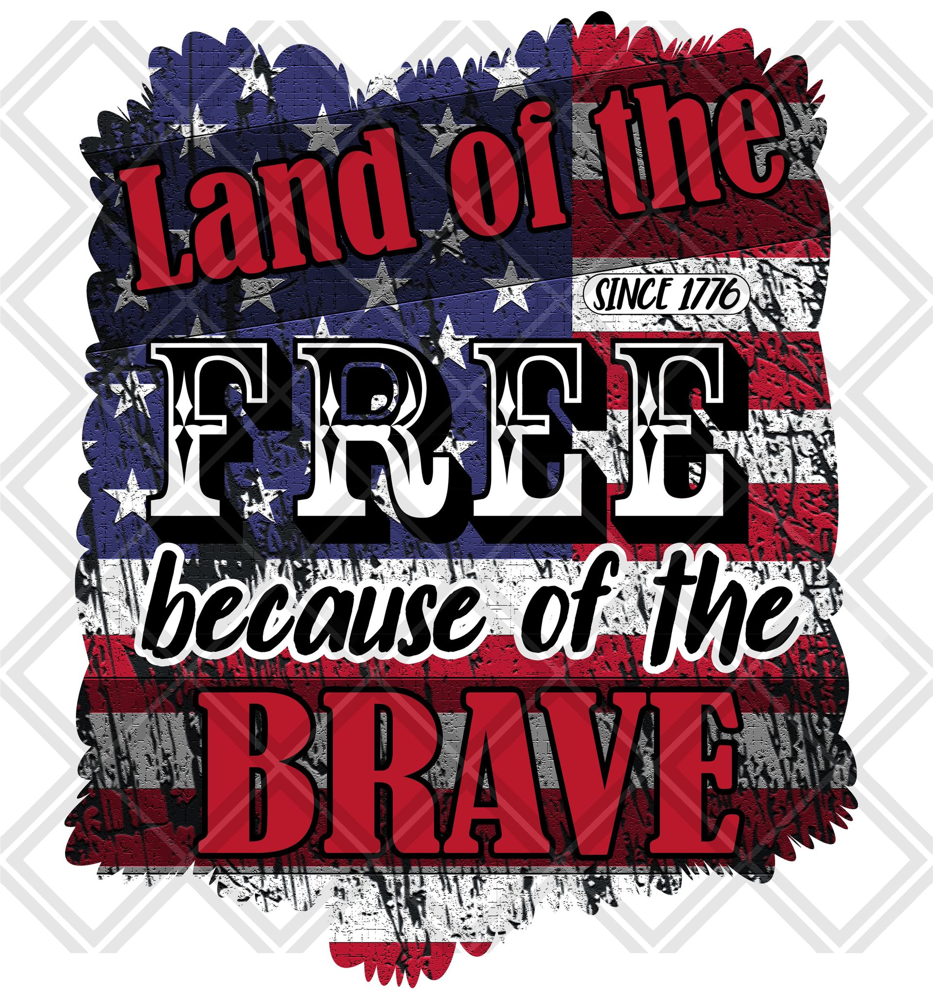 Land of the Free because of the brave Frame HTV TRANSFER, Sublimation  Transfer, Stickers, & All Glitter HTV TRANSFER.