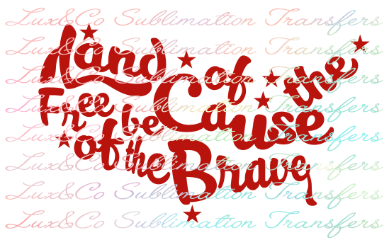 Land of the Free because of the Brave Sublimation Transfer.