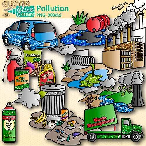 Pollution Clip Art: Earth Conservation of Land Graphics.