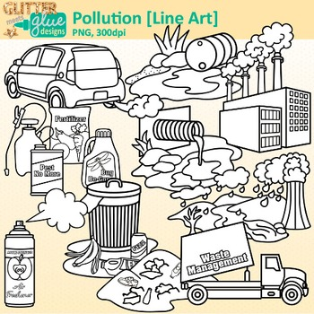 Pollution Clip Art: Earth Conservation of Land Graphics B&W {Glitter Meets  Glue}.