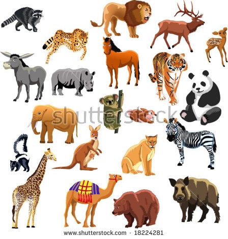 African Fauna Species Cute African Animals Stock Vector 516668872.