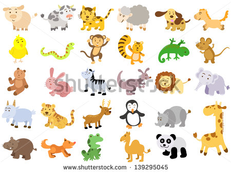 Cartoon Animals Set Stock Images, Royalty.