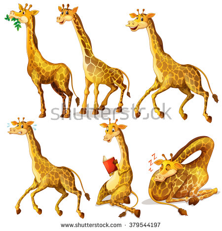 Illustration Different Kinds Land Animals On Stock Vector.
