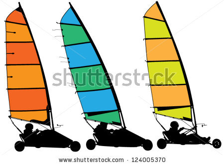 Land Sailing Silhouette On White Background Stock Vector.