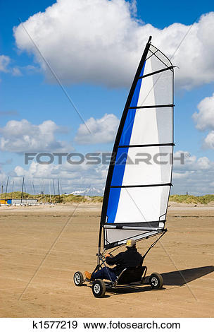 Stock Photograph of land sailing on the beach k1577219.
