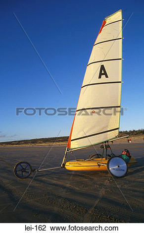 Stock Photo of Land Yacht on Beach lei.