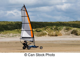 Pictures of land sailing on the beach in summer csp1577218.