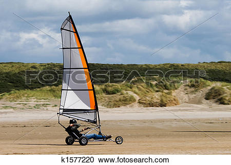 Stock Photography of land sailing on the beach k1577220.