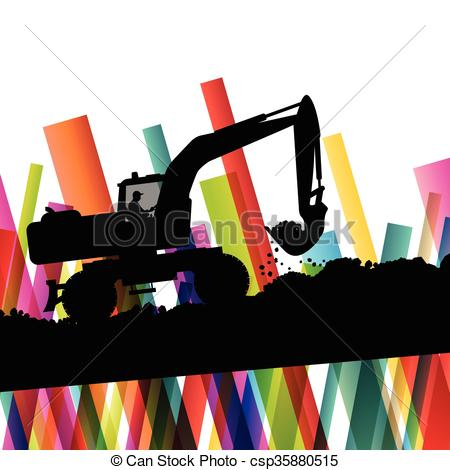 Vector Clip Art of Excavator bulldozer industrial land digging.