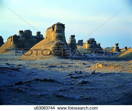 Stock Photo of the Site of Ancient Loulan City in Lop Nur no man's.