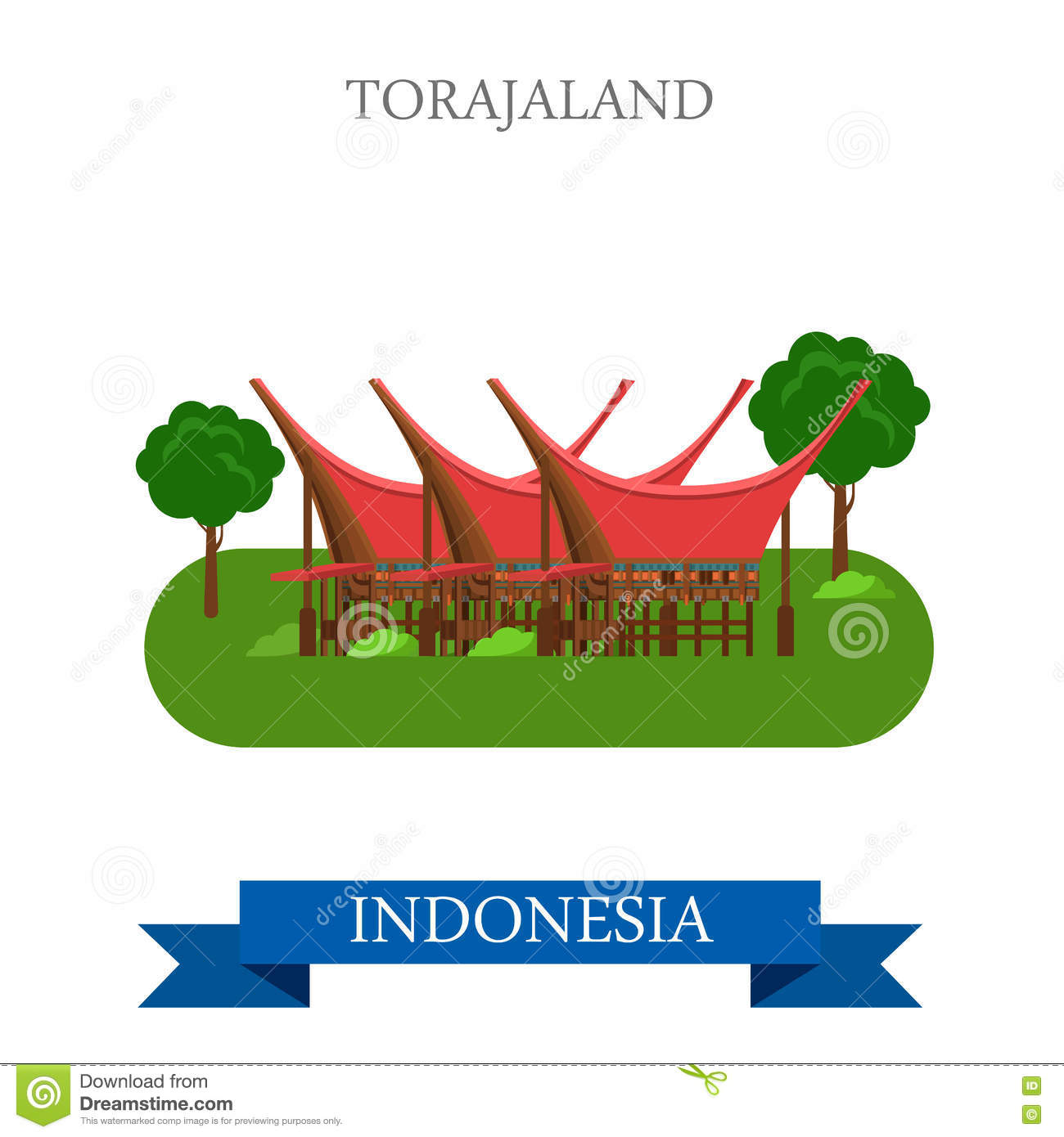 Toraja Land In Rantepao, Indonesia Vector Flat Attraction Stock.