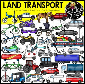 Land Transport Clip Art Set.