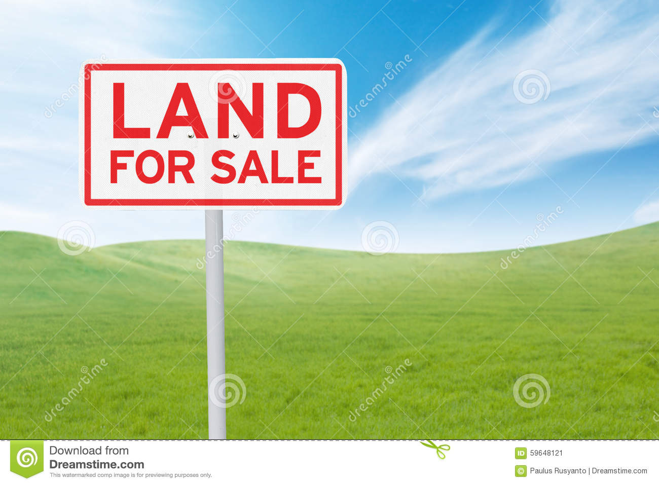 Signboard With Land For Sale Text Stock Photo.