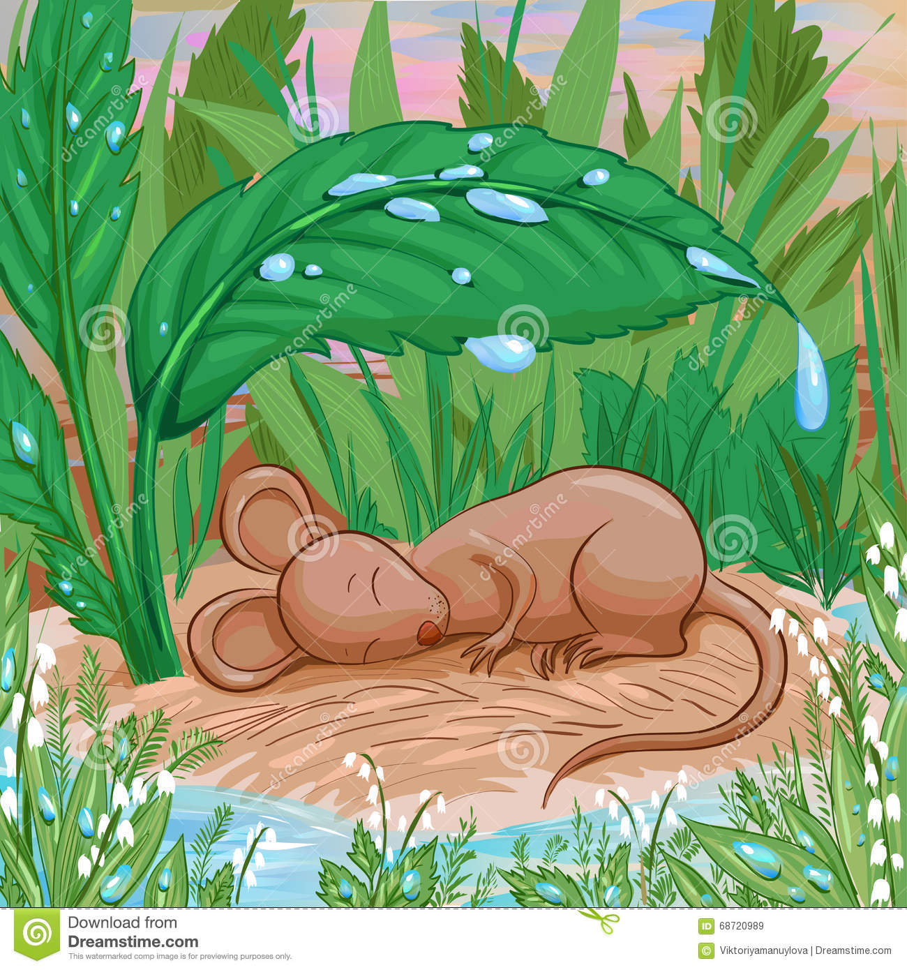Mouse Is Sleeping On A Piece Of Dry Land Under Rain. Stock Vector.