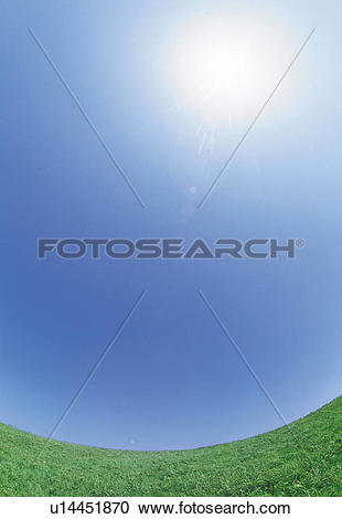 Stock Photography of a Green Flat Land Under a Blue Sky, Fish Eye.