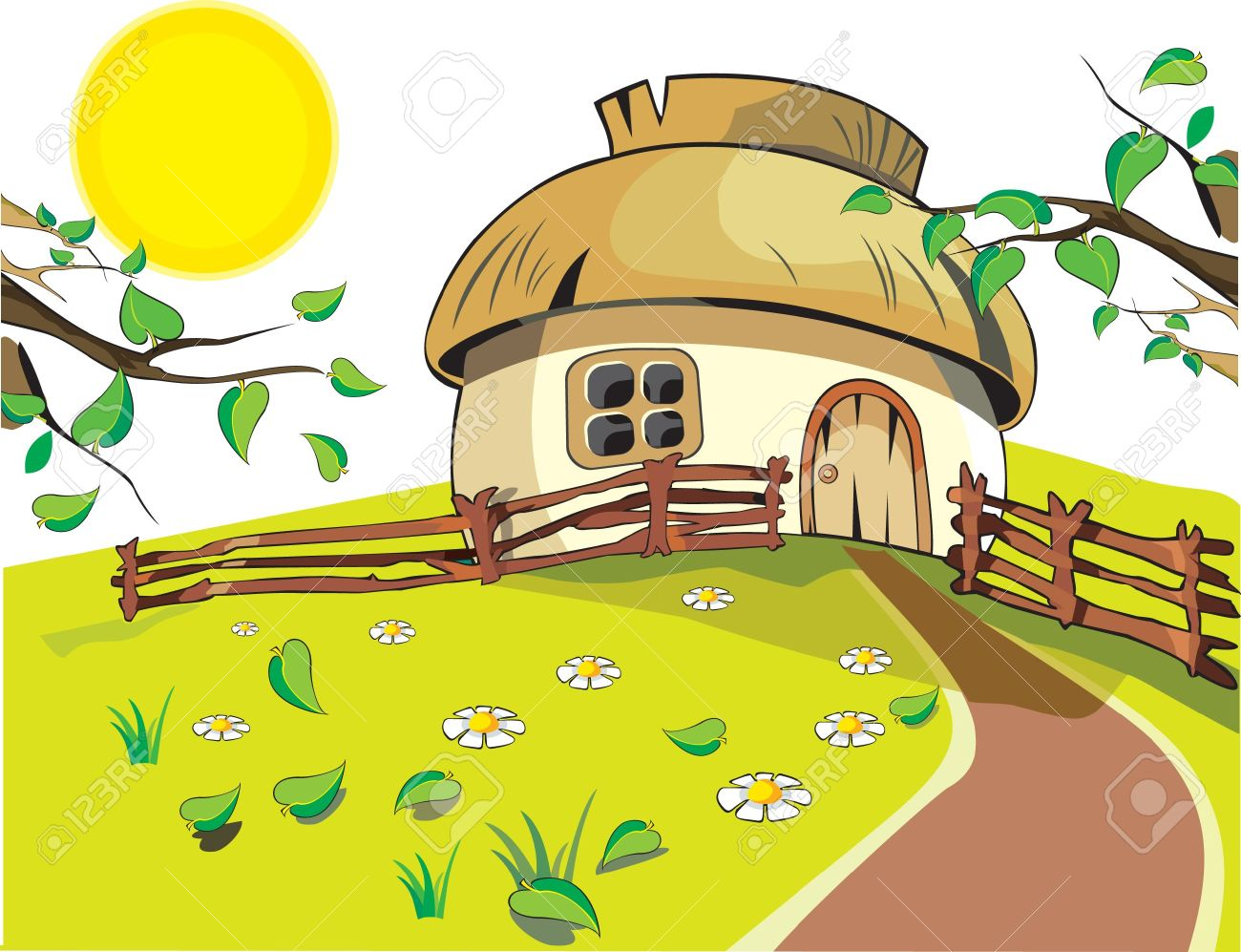 Small House Under With Sun, Flowers, Leaf And Fence On The White.