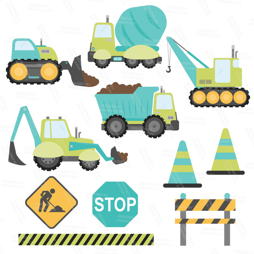 Construction Trucks Clipart Vectors in Land And Sea.