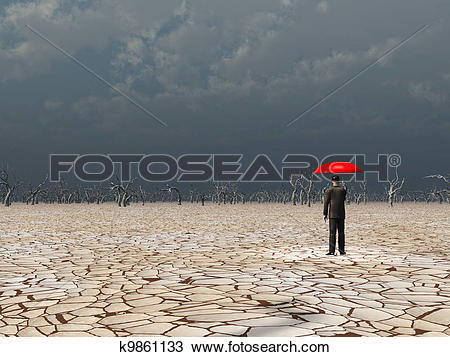 Drawing of Man with red umbrella in dry land under gathering storm.
